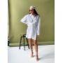 Белое льняное платье рубашка с завязкой