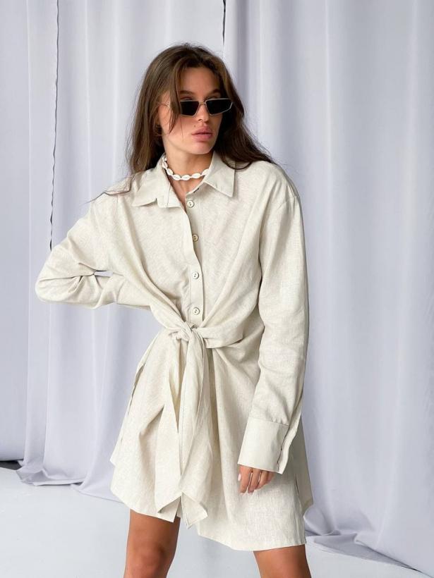 Бежевое льняное платье рубашка с завязкой