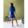 Синее льняное платье с разрезом на спине