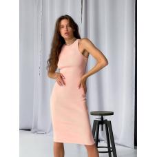 Персиковое платье майка миди в рубчик