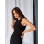 Черное платье майка миди в рубчик
