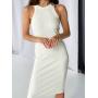 Белое платье майка миди в рубчик