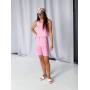 Розовый льняной костюм шорты бермуды и топ
