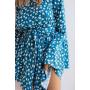 Голубой комбинезон шорты из вискозы в цветочек