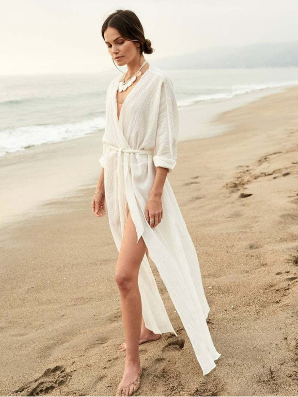 Белая льняная длинная пляжная накидка