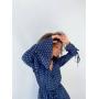 Синий комбинезон шорты в горошек
