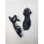 Черные кожаные босоножки с двойной шлейкой