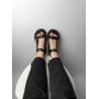 Черные кожаные сандалии на липучках