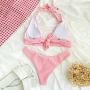 Розовый купальник из фактурной ткани
