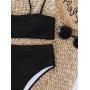 Черный купальник бандо с высокими плавками