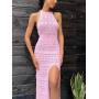 Розовое вязаное платье макси из хлопка