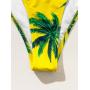 Желтый купальник бандо в пальмами