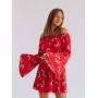 Красный комбинезон шорты-юбка в цветочек