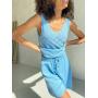 Голубой вязаный ажурный костюм с шортами