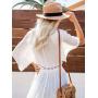 Белый длинный пляжный кардиган с кружевом