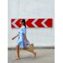 Голубое платье парашют из хлопка