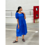 Синее платье миди с открытой спиной