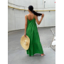 Зеленый сарафан макси из хлопка