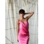 Розовое платье комбинация с драпировкой