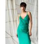 Зеленое платье комбинация с драпировкой