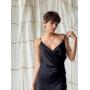 Черное платье комбинация с драпировкой
