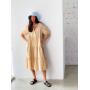Бежевое хлопковое ярусное платье миди
