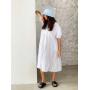 Белое хлопковое ярусное платье миди