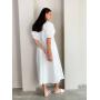 Белое хлопковое платье облако миди