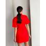 Красное платье рубашка с разрезом на талии
