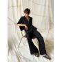 Черный летний костюм брюки палаццо с рубашкой