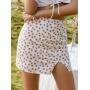 Белая мини юбка в цветочек