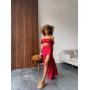 Красный костюм топ и юбка с разрезом