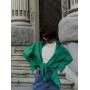 Зеленая хлопковая рубашка oversize
