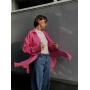 Розовая хлопковая рубашка oversize
