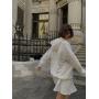 Молочный костюм мини юбка и худи