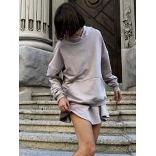 Пепельный серый костюм мини юбка и худи