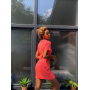 Коралловое трикотажное платье поло в рубчик