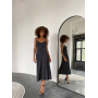 Черное шелковое платье комбинация с принтом