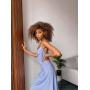 Голубое шелковое платье комбинация с принтом