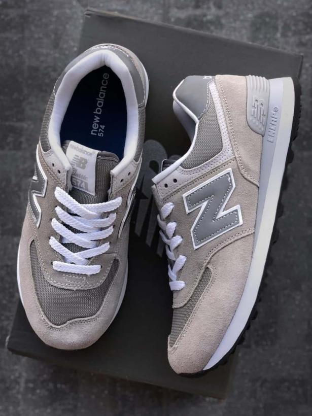 Серые замшевые кроссовки New Balance 574