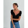 Черная льняная блузка с коротким рукавом