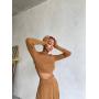 Карамельный трикотажный костюм с юбкой