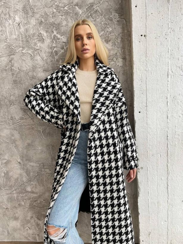 Твидовое пальто миди в гусиную лапку