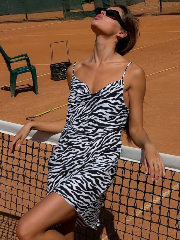 Платье комбинация зебра мини