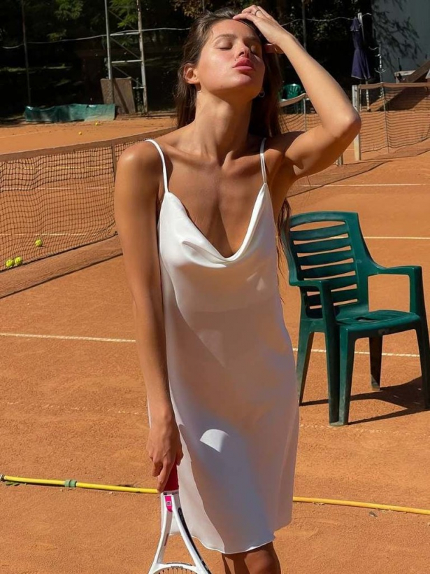 Молочное платье комбинация мини