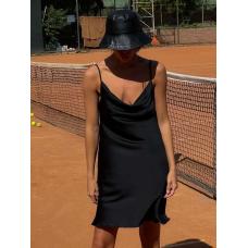 Черное платье комбинация мини