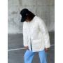 Стеганная белая куртка рубашка волнистый ромб