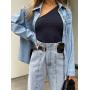 Голубые джинсы с вертикальным швом