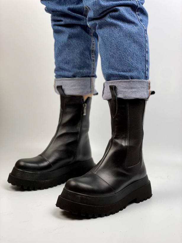 Черные высокие ботинки челси на платформе из кожи