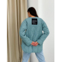 Стеганная голубая куртка рубашка волнистый ромб
